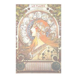 アルフォンス島のミュシャのLaの羽毛の(占星術の)十二宮図のアールヌーボーのヴィンテージ 便箋