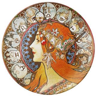 アルフォンス島のミュシャのLaの羽毛の(占星術の)十二宮図のアールヌーボーのヴィンテージ 磁器プレート