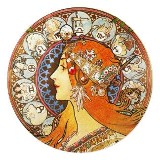 アルフォンス島のミュシャのLaの羽毛の(占星術の)十二宮図のアールヌーボーのヴィンテージ 13.3 スクエアインビテーションカード