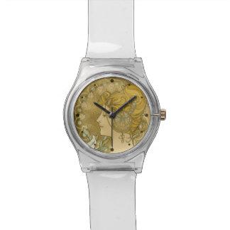 アルフォンス島のミュシャのLaの羽毛 腕時計