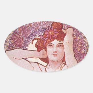アルフォンス島のミュシャのVintage紫色のアールヌーボーの女性 楕円形シール
