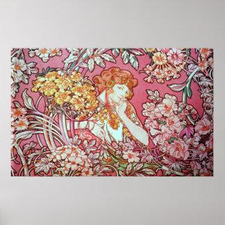 アルフォンス島のミュシャ。 Femme Parmi Lesのフルーア1900年 ポスター