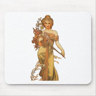 アルフォンス島のミュシャ- Holding Flowers女性 マウスパッド