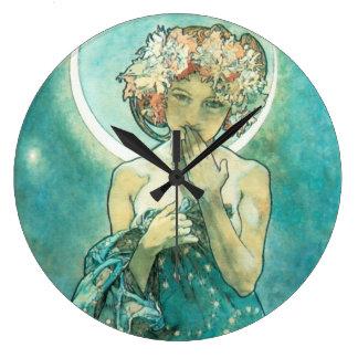 アルフォンス島のミュシャMoonlight Clair De Luneアールヌーボー 壁時計