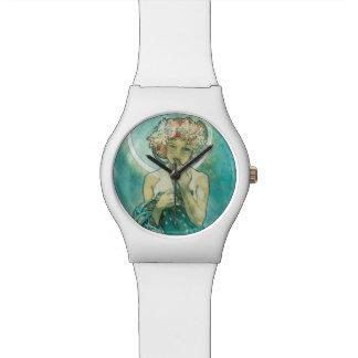 アルフォンス島のミュシャMoonlight Clair De Luneアールヌーボー 腕時計