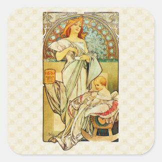 アルフォンス・ミュシャの乳児のための1898年の食糧 正方形シール・ステッカー
