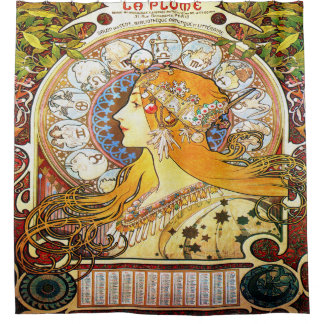 アルフォンス・ミュシャの1896年の(占星術の)十二宮図 シャワーカーテン