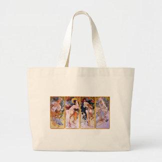アルフォンス・ミュシャアールヌーボーの女の子の絵を描くこと ラージトートバッグ