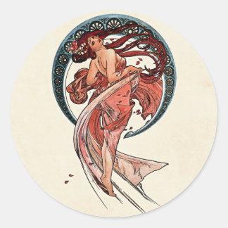 アルフォンス・ミュシャ1898年著ダンス 丸形シール・ステッカー