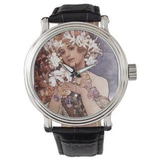 アルフォンス・ミュシャ: 花 腕時計