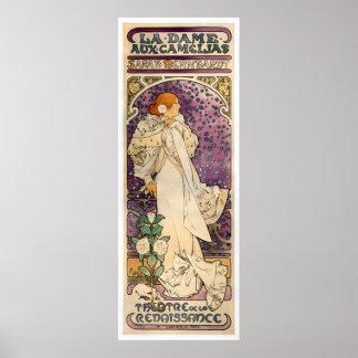 アルフォンス・ミュシャ(1896年)著補助のCamélias Laの貴婦人 ポスター
