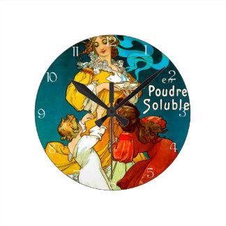 アルフォンス・ミュシャChocolat Idéalの子供の絵 ラウンド壁時計