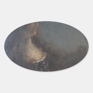 アルフレッドスティーヴンス著夜のアレゴリー 楕円形シール