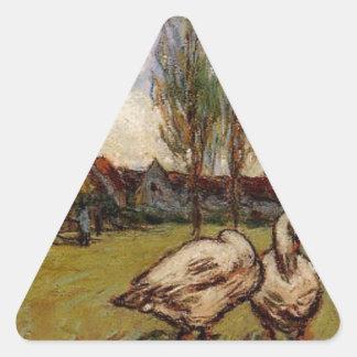 アルフレッド・シスレー著ガチョウ 三角形シール