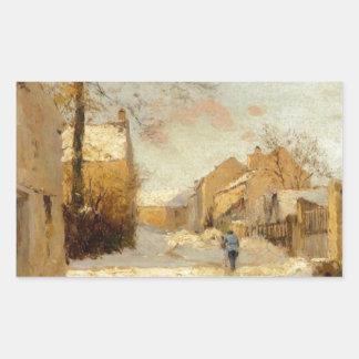 アルフレッド・シスレー著冬の村の通り 長方形シール