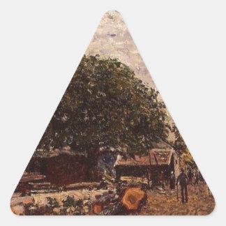 アルフレッド・シスレー著聖者Mammesの建築現場 三角形シール