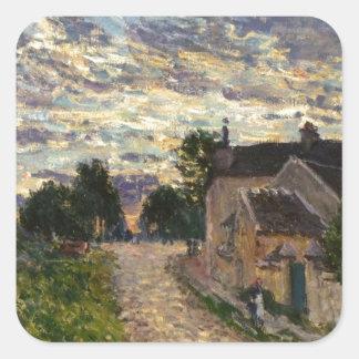 アルフレッド・シスレー著Louveciennesの道 スクエアシール