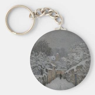 アルフレッド・シスレー著Louveciennesの雪 キーホルダー