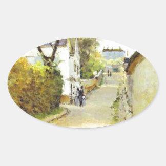 アルフレッド・シスレー著Ville d Avrayの通り 楕円形シール