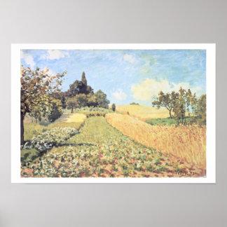アルフレッド・シスレー|の小麦畑 ポスター