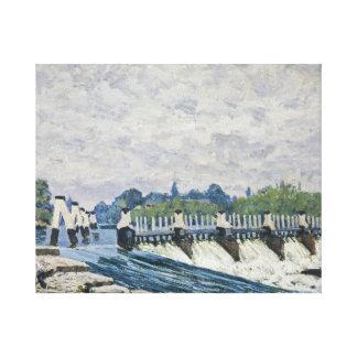 アルフレッド・シスレー- Moleseyのダム、ハンプトンコート キャンバスプリント