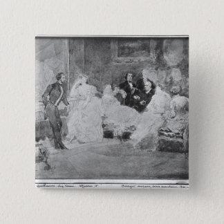 アルフレッドde Musset Eugene Delacroix 5.1cm 正方形バッジ