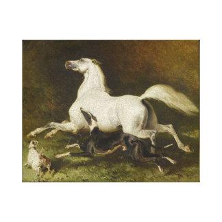 アルフレッドDedreux: 疾走する馬および犬 キャンバスプリント
