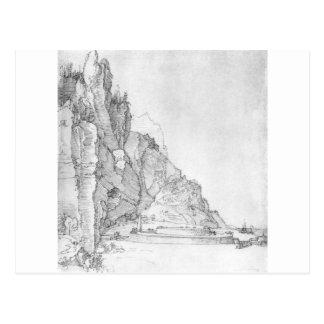 アルブレヒトDurer著山と海間の城砦 ポストカード