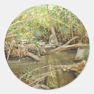 アルマの入り江の水彩画 ラウンドシール