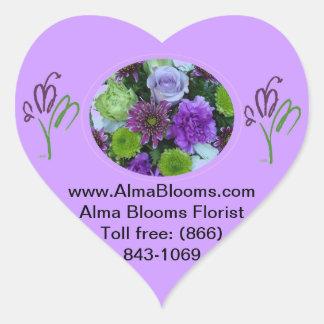 アルマは紫色の花束咲きます ハートシール