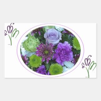 アルマは紫色の花束咲きます 長方形シール