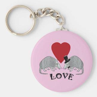 アルマジロのハート愛ピンク キーホルダー