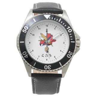 アルメニアのステンレス鋼の黒の革バンドの腕時計 腕時計