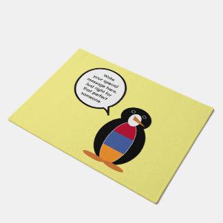 アルメニアの旗の話すペンギン ドアマット