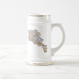 アルメニアの旗の~の地図のマグ ビールジョッキ