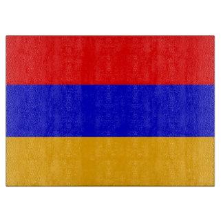 アルメニアの旗を持つガラスまな板 カッティングボード