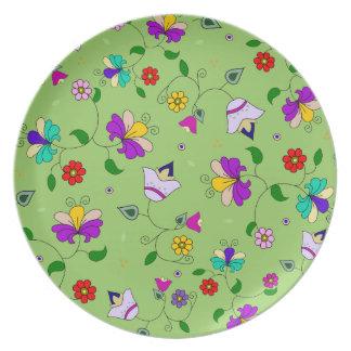 アルメニアインスパイア花パターン-緑 プレート