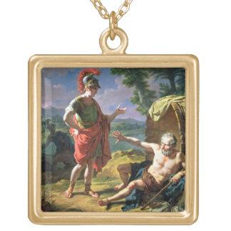 アレキサンダーおよびディオゲネス1818年(キャンバスの油) ゴールドプレートネックレス
