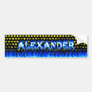 アレキサンダーの青い火および炎のバンパーステッカーのdesi バンパーステッカー