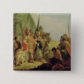 アレキサンダー大王およびPorus 5.1cm 正方形バッジ