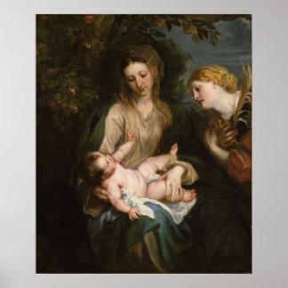 アレキサンドリアの聖者キャサリンを持つヴァージン及び子供 ポスター
