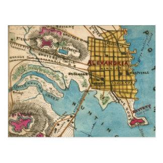アレキサンドリアVAおよび隣都市の地図 ポストカード