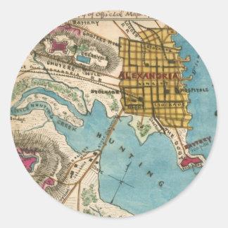 アレキサンドリアVAおよび隣都市の地図 ラウンドシール
