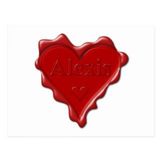 アレキシス。 一流のアレキシスが付いている赤いハートのワックスのシール ポストカード