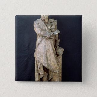 アレグサンダーデュマPere、c.1883-87の彫像 5.1cm 正方形バッジ