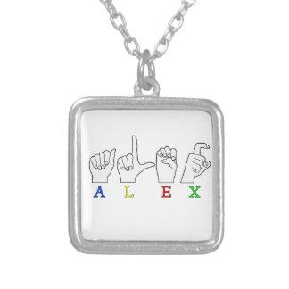 アレックス指はASLの一流の印を綴りました シルバープレートネックレス