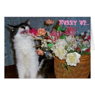 アレルギーくしゃみをする子猫健康な花を得るため カード