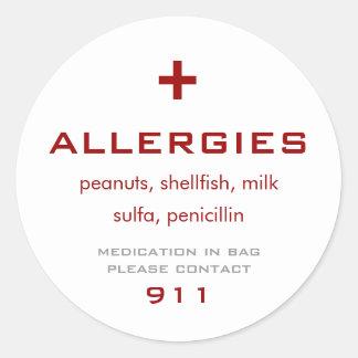 アレルギーの医学のステッカー ラウンドシール
