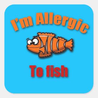 アレルギーの注意深いステッカーの魚をからかいます スクエアシール