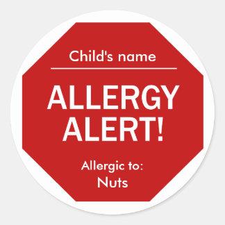 アレルギーの注意深いステッカー ラウンドシール